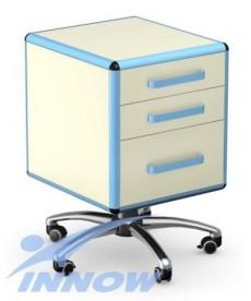 Asystor - stolik wielofunkcyjny, 3 szuflady z płyty meblowej