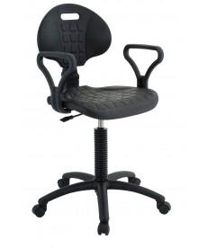 Krzesło laboratoryjne niskie z podłokietnikiem (czarne)