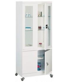 Szafa lekarska dwuczęściowa (drzwi szklone),dzielona,metalowa
