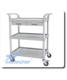 Wózek medyczny, trzypółkowy z szufladami