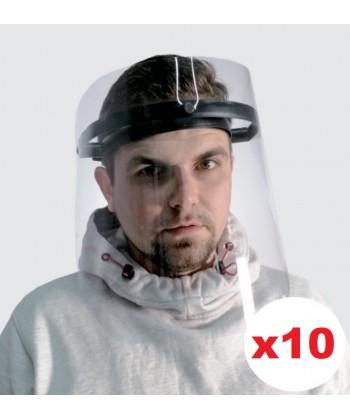Przyłbice ochronne regulowane, osłony antywirusowe twarzy 10szt